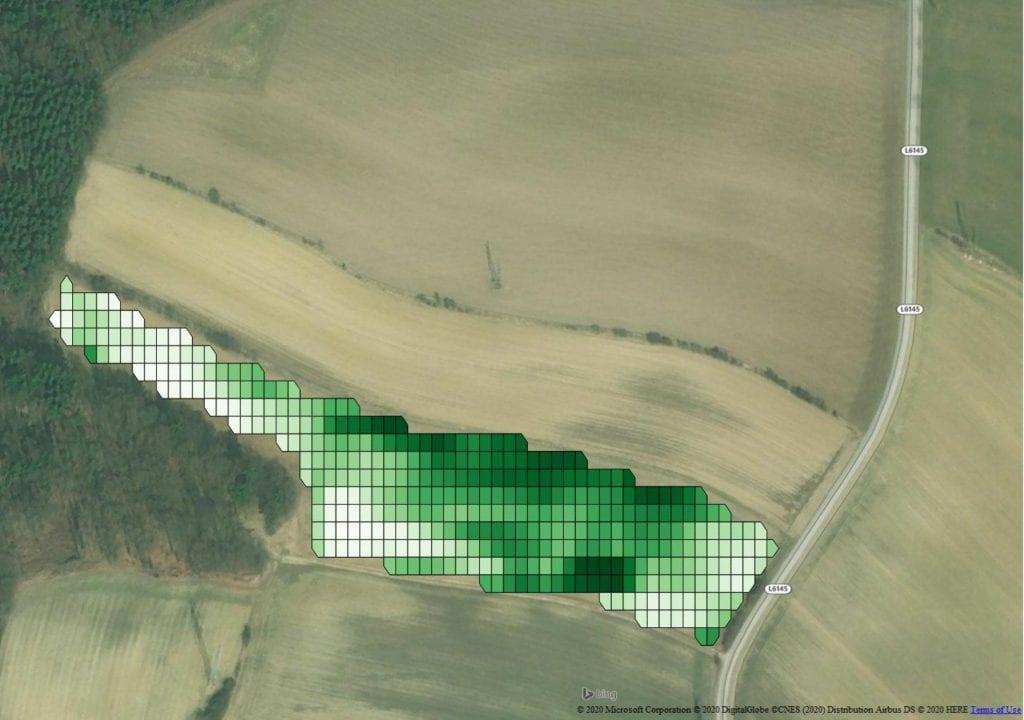 Mittels Satellit wurde der Nährstoffversorgungsgrad der Getreidepflanzen festgestellt. Ableitend davon wird eine Dünge-Applikationskarte erstellt.